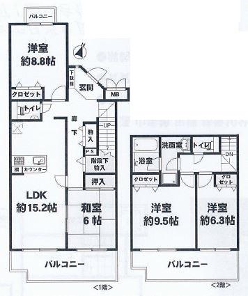 神戸市灘区篠原台 中古マンション間取画像