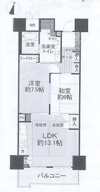 神戸市東灘区向洋町中 中古マンション間取画像