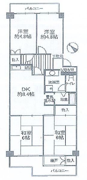 神戸市中央区港島中町 中古マンション間取画像
